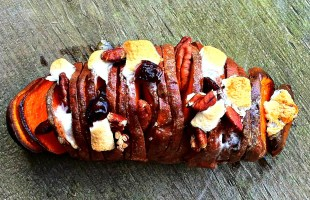 Maple Pecan Candied Hasselback Sweet Potato Recipe