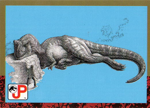 Jurassic Park Topps Trading Card Sleeping Tyrannosaurus