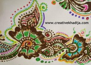 henna designs with glitter
