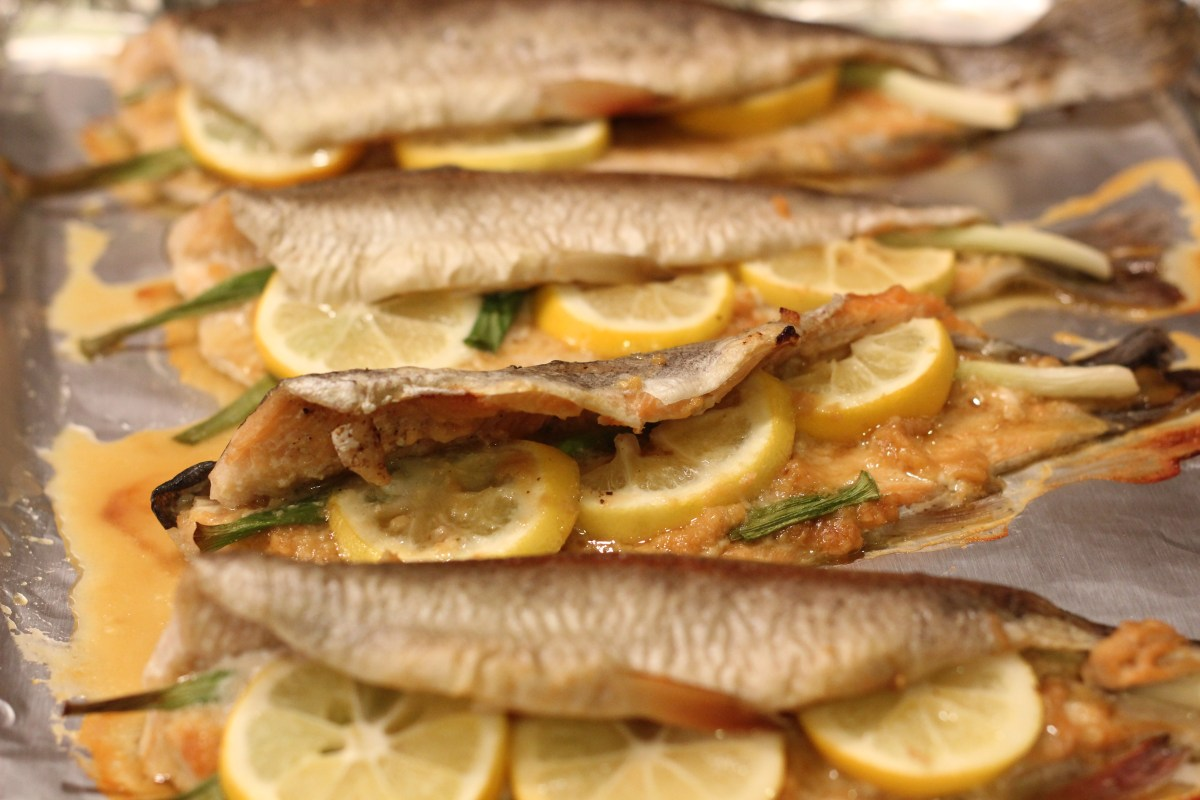 Rainbow trout with ginger, garlic, miso, and scallions