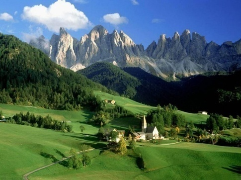 Santa Maddalena and Mt. Odle in the Italian Dolomites
