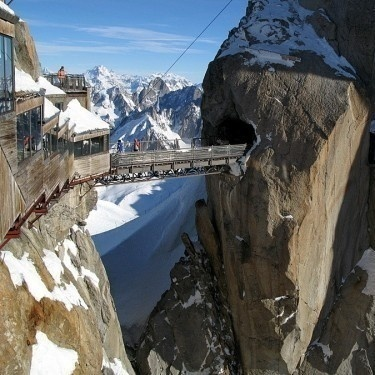 The bridge in Aiguille de Midi, Chamoix France
