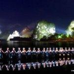 The set of 'Impression Sanjie Liu' are the illuminated karsts of the Li River.