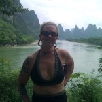 An athletic-looking Trish on the Li River.