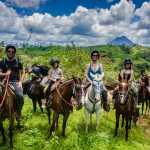 Costa Rica - Creekmores on horseback, trails near Leaves and Liz