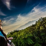 Costa Rica - Trish at canopy level in hot air balloon, Arenal ar