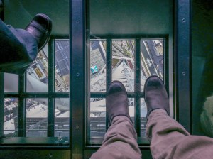 There is a clear glass floor and you can see the earth a quarter mile below your feet.