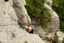 escalade trad, Verdon, grand evoie