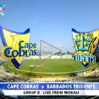 Watch Barbados Tridents vs Cape Cobras CLT20 2014 Highlights