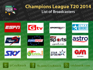 Champions League T20 – List of Broadcasters for CLT20 2014