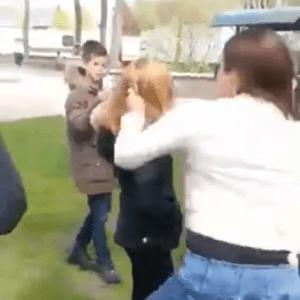 Meisje hard neergeslagen in schokkende video