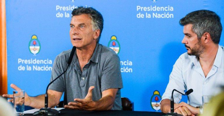 Macri y Peña en la conferencia de prensa en Chapadmalal.
