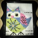 handmade crossstitch owl present for godmother