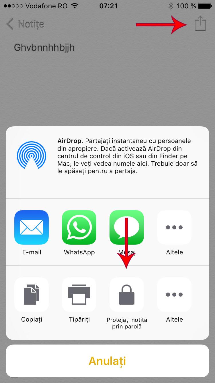 protejeaza notitele prin parola - iphone 4