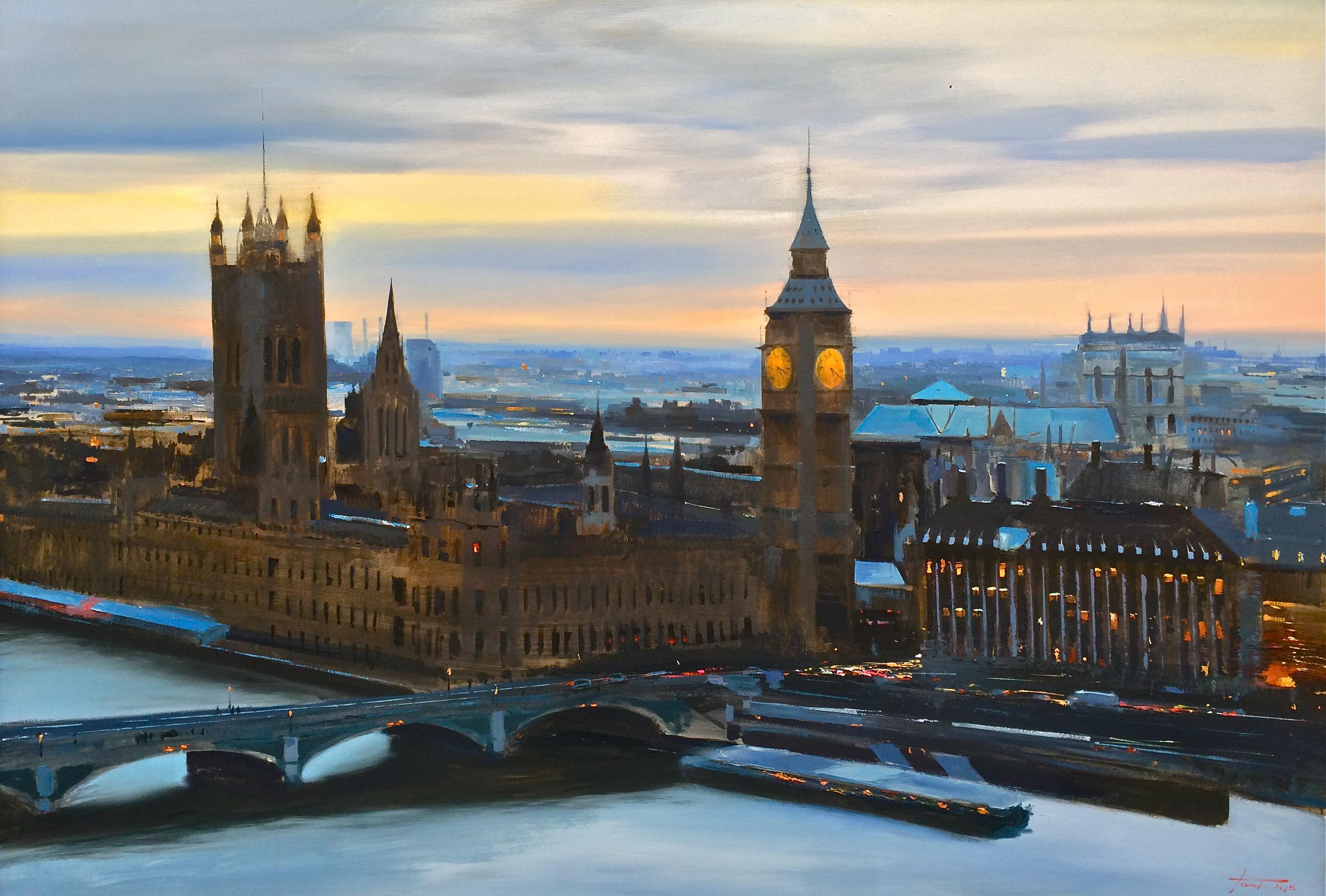 Desde el London Eye. Óleo sobre lienzo 65x146cm