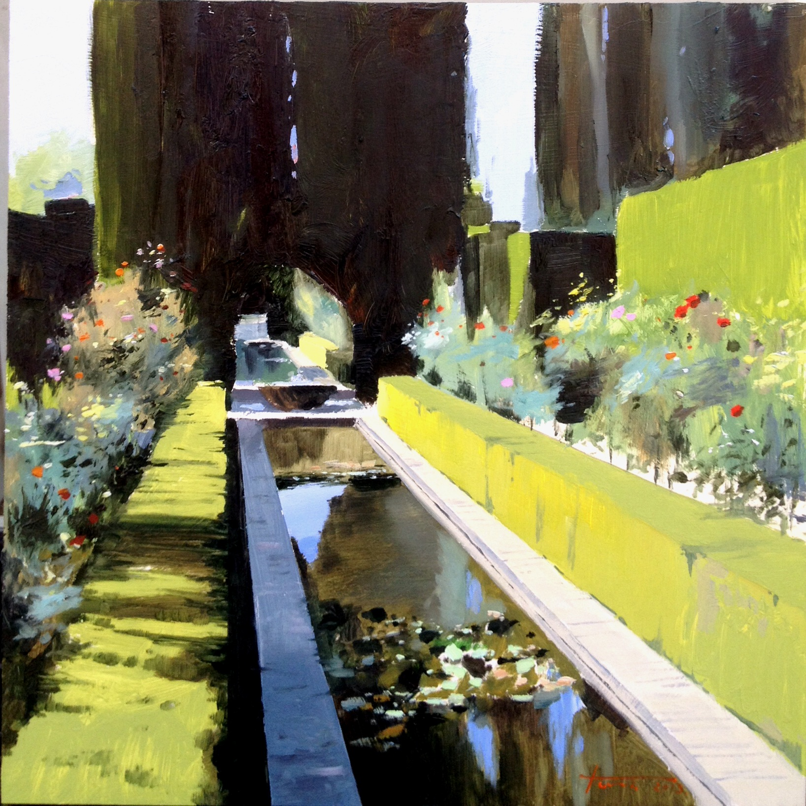 Reflejos en un paseo por la Alhambra.  Oil on panel 50x50cm.