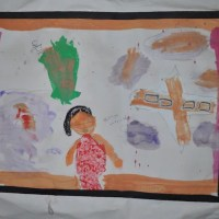 Clouds Raining Blood, Child's drawing at Shatila Camp Beirut