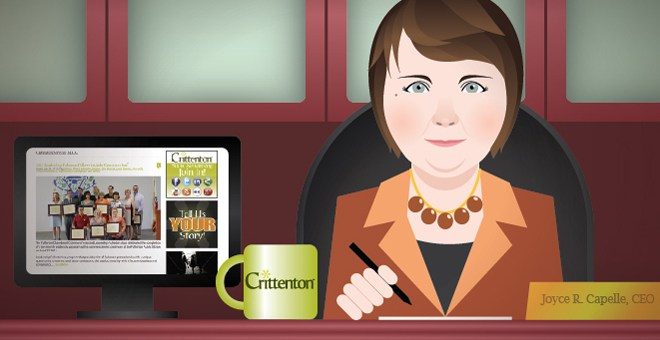 Crittenton CEO, Joyce Capelle, blogging from her desk.