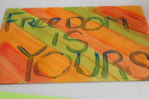 Artwork created by Crittenton youth at the 2013 Anti-Human Trafficking Awareness event at our Residential Treatment Services Center.