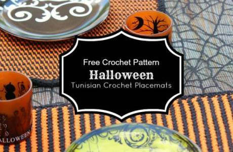 Tunisian Crochet Halloween Placemats