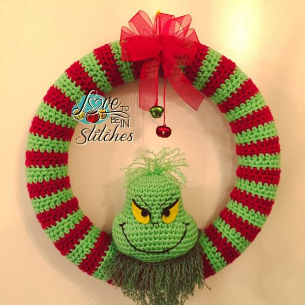Free Pattern – Grinch Christmas Wreath – Crochet