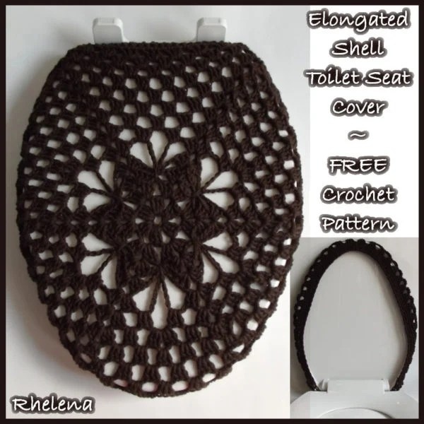 Elongated Shell Toilet Seat Cover Free Crochet Pattern