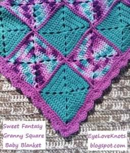 Sweet Fantasy Granny Square Baby Blanket ~ Alexandra - EyeLoveKnots