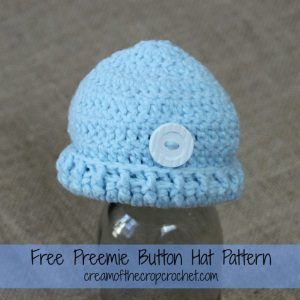 Preemie Button Hat ~ Cream Of The Crop Crochet