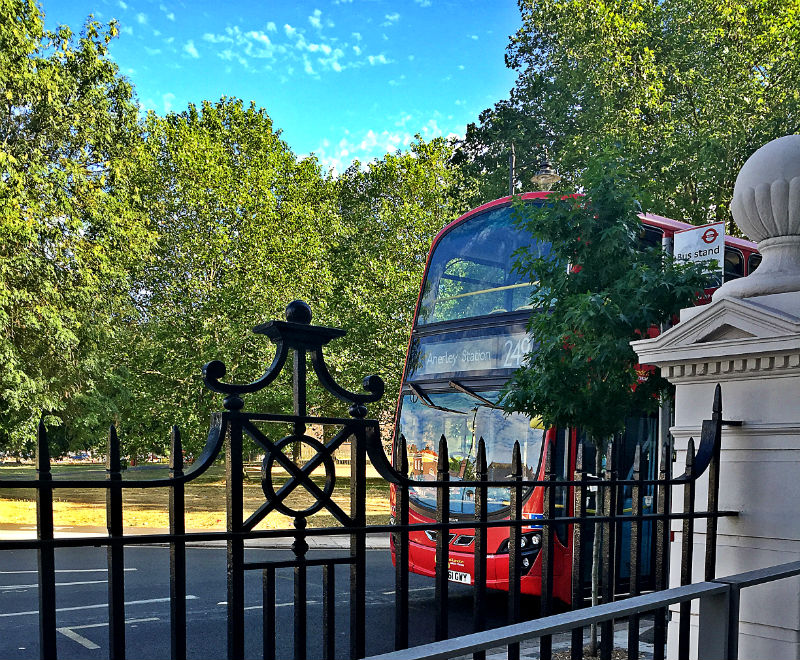 double decker london bus and leaves eileen cotter wright