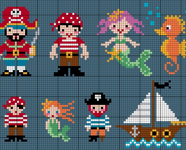 Download these adorable pirates and sea creatures