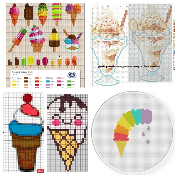 Ice cream cross stitch charts