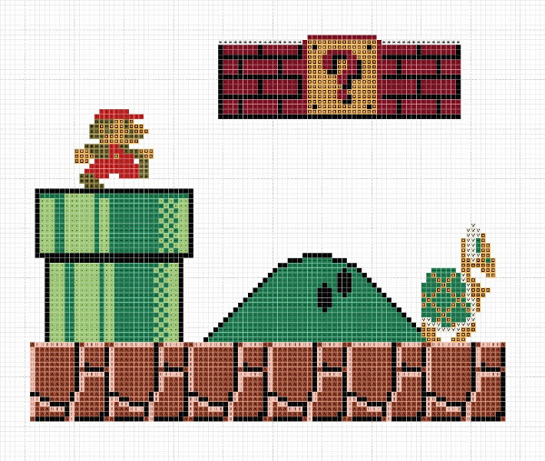 Super Mario Brothers cross stitch patterns
