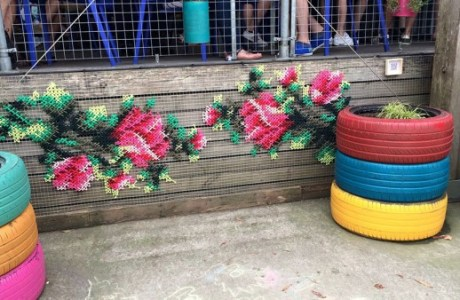 Oldie But a Goodie: Floral Cross-Stitch Graffiti