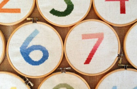Make Cross Stitched Ombre Table Numbers for a DIY Wedding