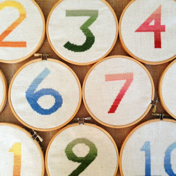 ombre cross stitch table numbers