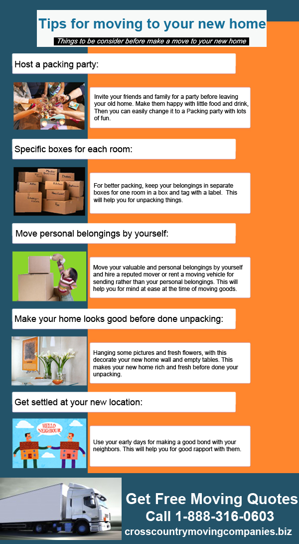 Tips for moving to new home infographic for Moving into a new build house tips