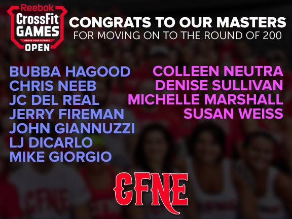 Congratulations to our Masters Athletes moving on to the round of 200!