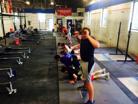 """The High School class showing their mental toughness getting after """"Fortitude""""."""