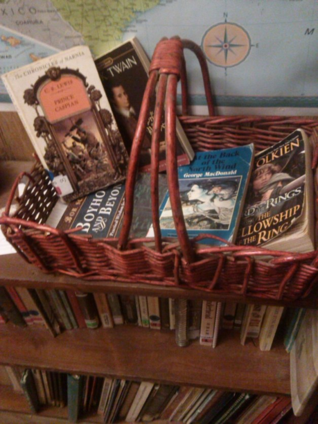 "Our ""red"" basket, with bedtime and lunch reads."