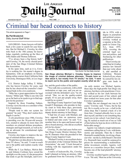 Los Angeles Daily Journal article about Michael Crowley