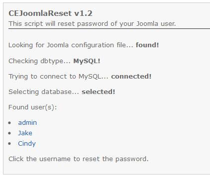 CE Joomla Reset