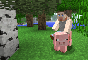 The author's avatar rides a saddled pig in this screenshot from Minecraft.  — Game content © Mojang AB