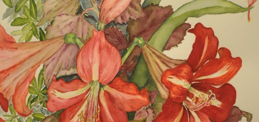 A detail of one of Omelanuk's watercolors. — Photo by Teri Robinson