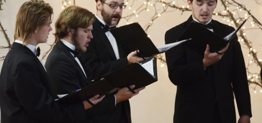 The CSC Men's Ensemble harmonizes Sunday during the concert in the Chadron Arts Center. —Photo by Teri Robinson