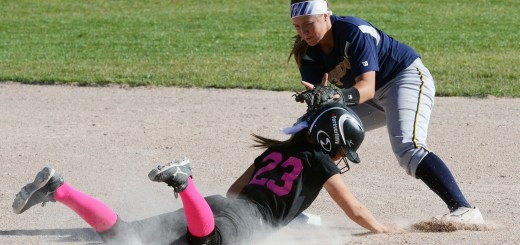 Courtney Lecher (23), senior of Fort Collins, Colorado, slides safely into second base Tuesday, during the scrimmage against Western Nebraska Community College, Scottsbluff.— Photo by Preston Goehring