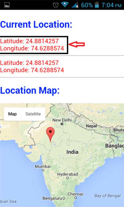 Find Geolocation With Google Map Using Cordova