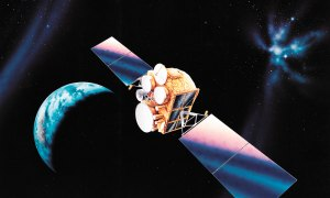 Courtesy graphic An artist's rendition of a Wideband Global SATCOM satellite on orbit.