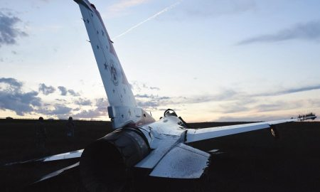(U.S. Air Force photo by Senior Airman Amber Grimm) COLORADO SPRINGS, Colo. — Thunderbird 6 rests in a field south of the Colorado Springs airport June 2, 2016. The aircraft crashed following a graduation performance at the U.S. Air Force Academy. The accident investigation was released Dec. 14, citing a throttle trigger malfunction and inadvertent throttle rotation as the cause of the F-16 crash.