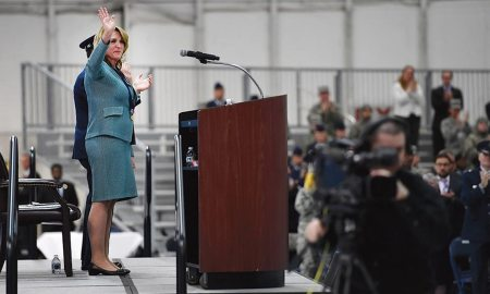 Secretary of the Air Force Deborah Lee James waves to attendees during her farewell ceremony at Joint Base Andrews, Md., Jan. 11, 2017. James took office as the 23rd secretary of the Air Force in December 2013.