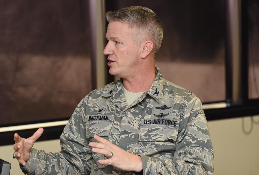 U.S. Air Force photo/Senior Airman Arielle Vasquez Col. Scott Angerman, 50th Network Operations Group commander, spoke with 50th Space Wing cyberspace officers during a Cyberspace Operations Officer Luncheon Wednesday, Feb. 15, 2017. COOL, a new event hosted by the 22nd Space Operations Squadron, began in January and is scheduled to occur monthly.